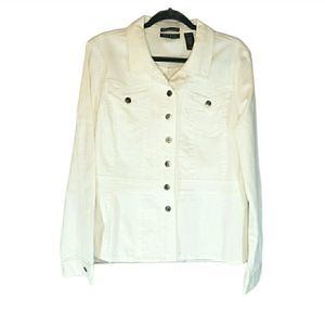 AXCESS Stretch Button-up Jean Jacket White Size XL